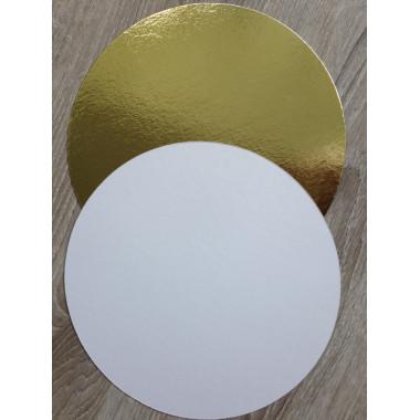 Подложка d- 22 см., двухсторонняя (золото/белая) 1,5 мм..