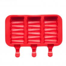 Форма силиконовая для мороженого и пирожных эскимо- Кирпичик (3 ячейки+деревянные палочки) .(-40С+230С)
