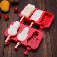Форма силиконовая для мороженого и пирожных эскимо- Снеговик (3 ячейки+деревянные палочки) .(-40С+230С)