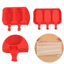 Форма силиконовая для мороженого и пирожных эскимо- Овал (3 ячейки+деревянные палочки) .(-40С+230С)