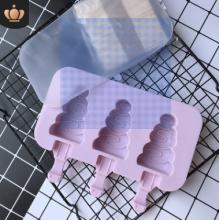 Форма силиконовая для мороженого и пирожных эскимо- Елка (3 ячейки+деревянные палочки) .(-40С+230С)
