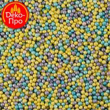 Шарики перламутровые голубо-лилово-желтые , 50 гр.
