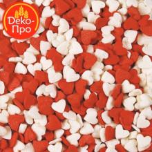 Сердечки красно-белые, 50 гр.